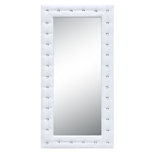 Modern Contemporary Floor Mirror, White, Faux Leather Leather Floor Mirror