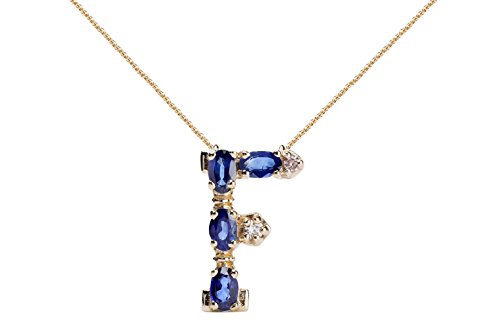 Albert Hern Blue Sapphire Necklace with Diamonds & 18K Gold Chain | Irresistible Sapphire Letter F Pendant Jewelry | Perfect Valentine's Day, Anniversary & Birthday Gift