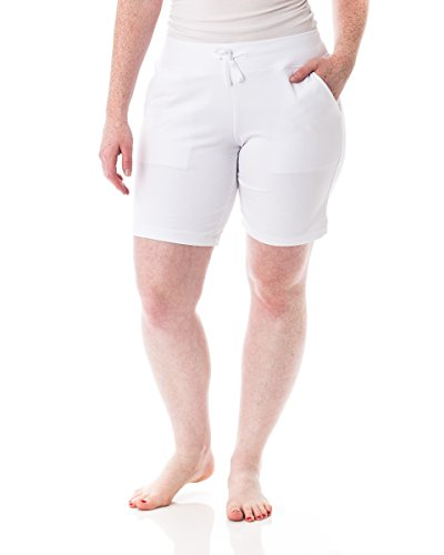 Alki'i Women's Comfort Lounge Bermuda Shorts with Pockets White L ()