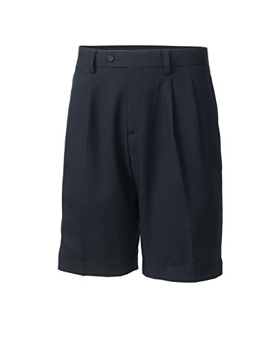 Pleated Golf - Cutter & Buck Golf- Twill Microfiber Pleated Short, Navy Blue, 36 Waist