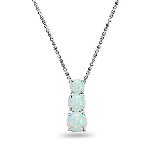 - Sterling Silver Simulated White Opal Round 3-Stone Journey Slide Pendant Necklace for Women Teen Girls
