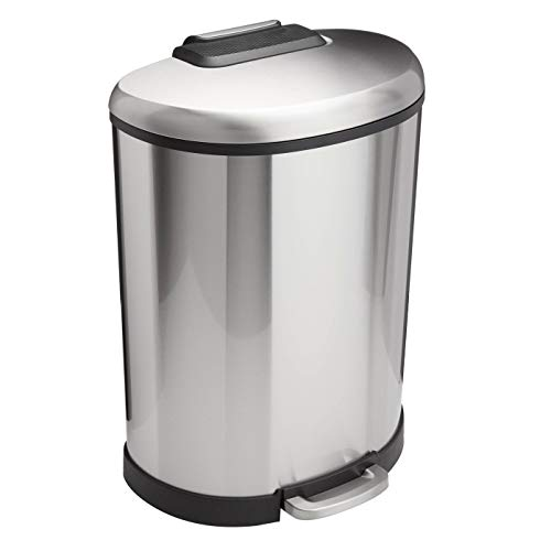 Amazon Basics 50 Liter / 13.2 Gallon Soft-Close Trash Can with Foot Pedal – D-Shaped, Stainless Steel