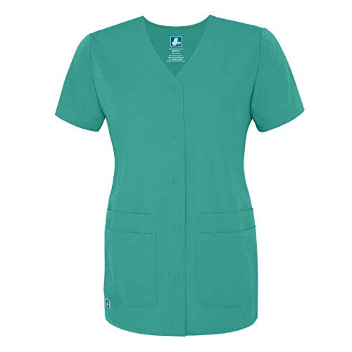 Adar Universal Double Pocket Snap Front Top - 604 - Surgical Green - 5X
