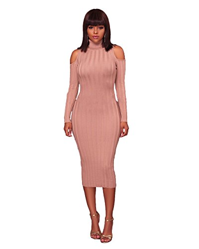 Felicity Young Women' s Turtle Neck Long Sleeve Cold Shoulder Slim Fit Knit Sweater Dress Bodycon Pencil Party Midi Dress Nude, X-Large