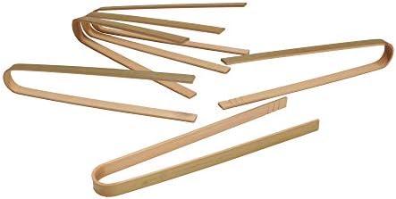 BambooMN Brand 6.3 Mini Bamboo Disposable Tongs Toast Tongs 10pcs by BambooMN