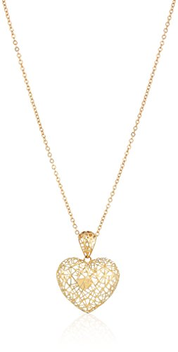 14k Yellow Gold Heart with Micro-Filigree Texture Pendant Necklace, 18