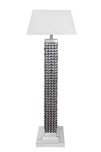 - Best Quality Furniture AC122 Floor Lamp + Shade, Silver, White