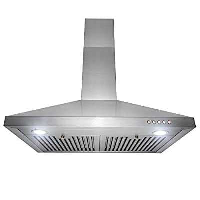 "Golden Vantage Wall Mount Range Hood –30"" Stainless-Steel Kitchen Hood Fan– 3-Speed Professional Motor –Push Control Panel with LED Lighting – Pyramid Modern Design – Baffle Filters"