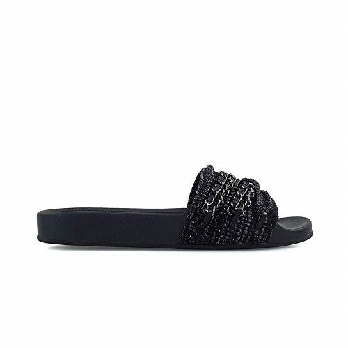 DHG Negro 35 de con Gruesas Plana Cadena Perlas Zapatillas de Palabra rzqRr