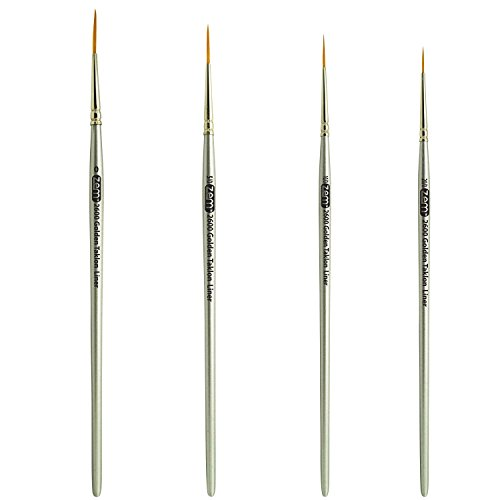 Golden Taklon Multi Media Long Liner Artist Brush Set 20/0, 10/0, 5/0, 0 (Golden Taklon Detail Brushes compare prices)
