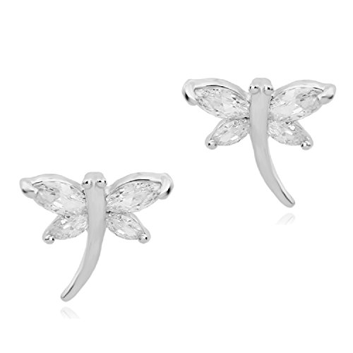 Dragonfly Stud Earrings with White Zirconia Crystals 18 ct White Gold Plated for Women and Girls ()