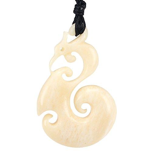 xkchief Animal en os sculpté à la main dans la Chine Antique Style Phoenix Collier avec pendentif pour femme