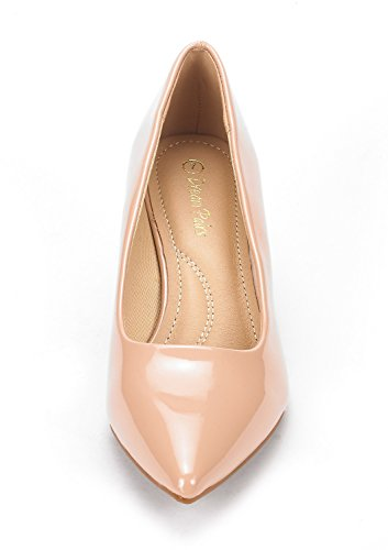 Women's Toe Heel Moda Low Pump Nude Pat Pointed D'Orsay DREAM PAIRS Shoes 0C5gq