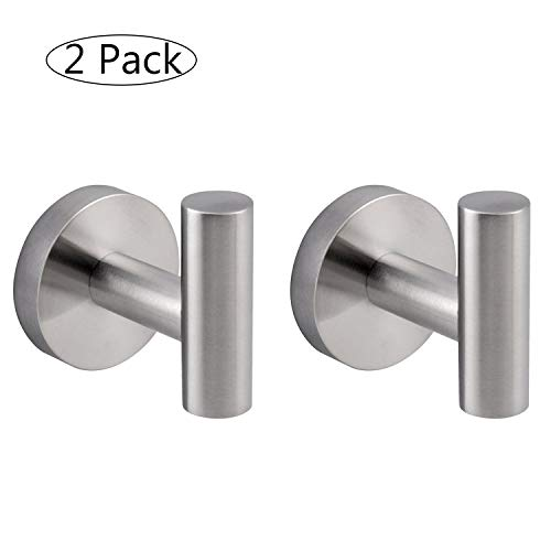 - Bath Kitchen Wall Mounted 304 Stainless Steel Single Prong Round Clothes Towel Robe Coat Hook, Brushed Finish