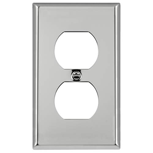 ENERLITES Duplex Receptacle Outlet Metal Wall Plate, Corrosive Resistant, Size 1-Gang 4.50