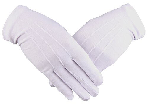 Mens White Gloves Formal Tuxedo Band Honor Guard