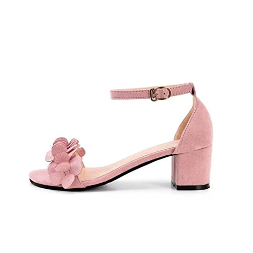 Lolittas Summer Sandals Block High Heel for Women Size 2-6, Leather Floral Bridal Wedding Lace up Block Heel Wide Fit Peep Toe Slingback Strappy Shoes Pink