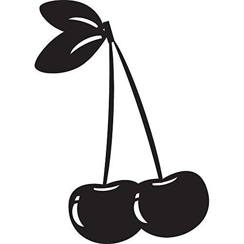 NBFU DECALS Cherry (Black) (Set of 2) Premium Waterproof Vinyl Decal Stickers for Laptop Phone Accessory Helmet Car Window Bumper Mug Tuber Cup Door Wall Decoration