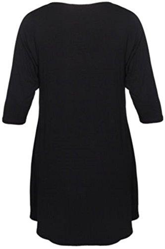 New Womens Plus Size Uneven Dip Hem Long Tunic Tops, Black, EU 54-56