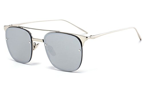 Konalla Square Rimless Tinted Flash Mirror Fashion Sunglasses For Womens - Cyclops Men X Sunglasses