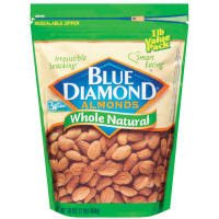 Blue Diamond Almonds Whole Natural, 16-Ounce Bags (Pack of 6)