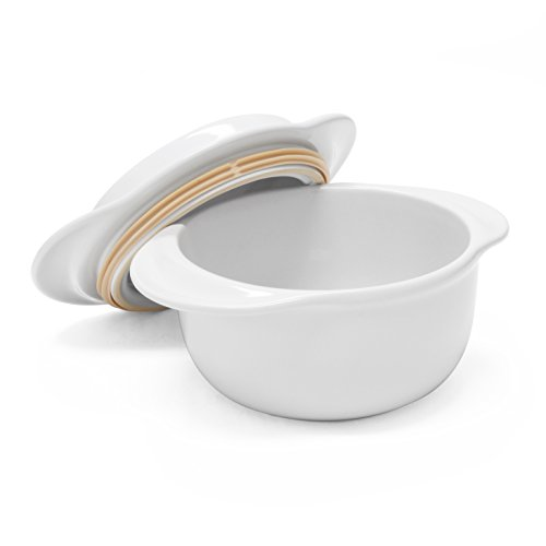 Chantal 93-MT17 WT Make and Take Round 1 ¾-Quart Casserole with Lid, Glossy White