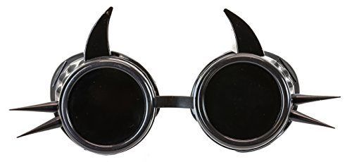 Cyber Black Steampunk Goggles Devil Spike Biker Gothic Rave Aviator Burning Man ()