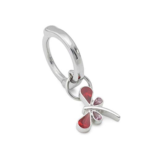 Painful Pleasures 14g 10mm Steel Hoop Ear or Navel Jewelry with Clicker Mechanism - Dragonfly Charm with Fire-Red Jewel Wings