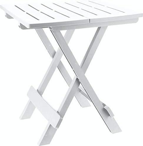 Spetebo Adige - Mesa plegable pequeña para jardín o camping, ideal para utilizarse como mesa auxiliar, Blanco: Amazon.es: Coche y moto
