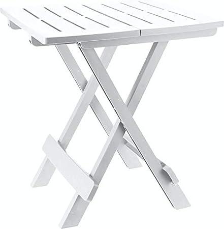 Spetebo Adige - Mesa plegable pequeña para jardín o camping, ideal para utilizarse como mesa auxiliar, Blanco