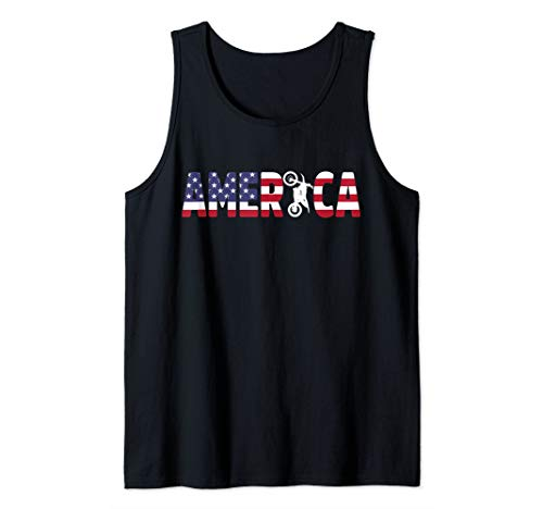 Dirt Bike Motocross MX Rider America American Flag July 4th Tank Top