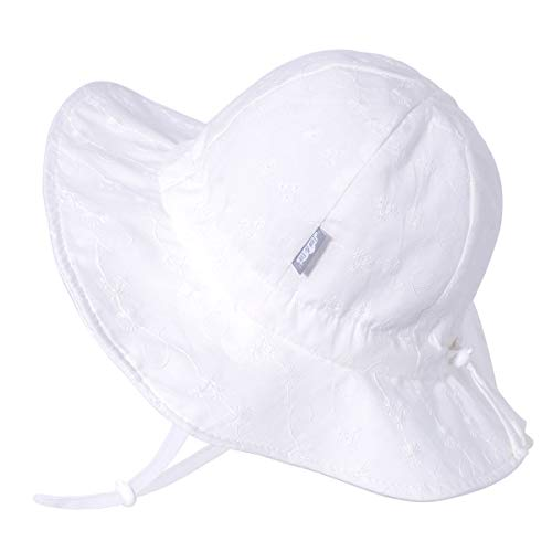 Baby Girl Cotton Sun Hat 50 UPF, Adjustable Good Fit, Stay-on Tie (S: 0-6m, White Daisy)