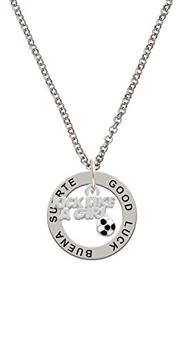 Soccer Ball Enamel Italian Charm - Silvertone Kick Like a Girl with Enamel Soccer Ball - Good Luck Affirmation Ring Necklace