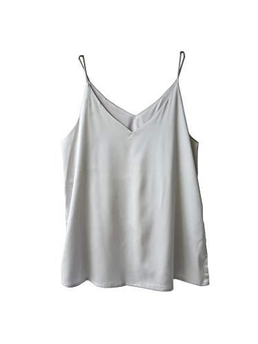 Satin Strap Vest - Wantschun Womens Silk Satin Camisole Cami Plain Strappy Vest Top T-Shirt Blouse Tank Shirt V-Neck Spaghetti Strap US Size XL;Grey
