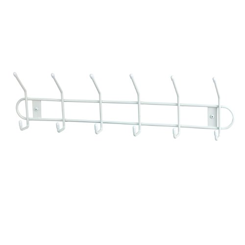 Spectrum Diversified Wall Hook Rack, 6 Hook, White