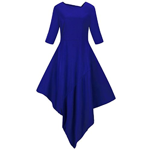 Coolred Irregular Cocktail Dress Oversized Women Solid Blue Party Fashional pAr1pHf