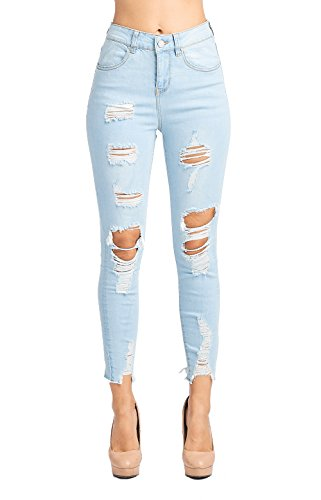 ICONICC Women's Butt Lifting High Rise Destroyed Skinny Jeans Stretch Denim,Jp1078h_snow Blue,11