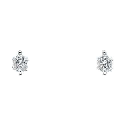 14k White Gold Turtle Stud Earrings with Screw Back (Turtle Gold White)