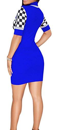 Collo Da Abiti Calde Alto Clubwear Donne Bodycon Tratto Scacchi Blu Sexy Cromoncent wqEBdvnw5