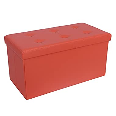 Songmics 29 7/8  Collapsible Faux Leather Storage Ottoman Large Foot Rest Stool Orange ULSF40J