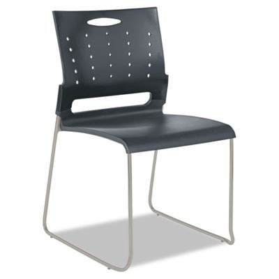 Alera Series Continental (ALERA * Continental Series Perforated Back Stacking Chairs, Charcoal Gray, 4/Carton, Sold as 1 Carton)