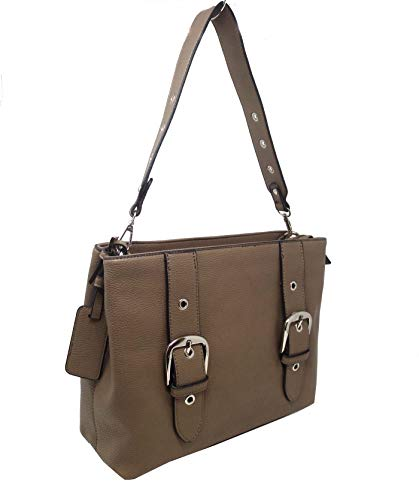 Simply Noelle Vegan Leather Buckle Collection Signature Handbag (Taupe) HB2086