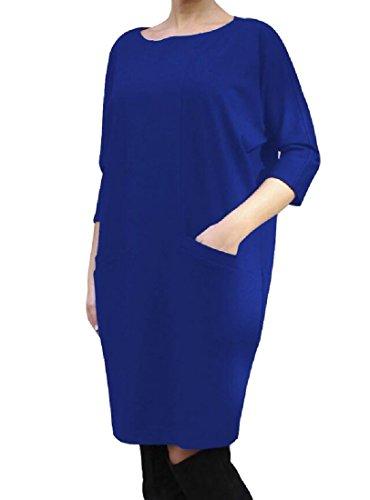 Loose Crewneck Dress Colored Pencil Blue Pocket Women's Dress Party Solid Comfy nUPq07Xq
