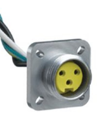 Brad 1R3G06A20A120 Mini-Change A-Size Receptacle with Lead, Male Straight, 3 Pole, Flange, UL1061 Cable Type, PVC Cable Jacket, 16AWG Wire Size, 13.0A Max Current Rating, 600V AC/DC Max Voltage, 12'' Cable Length, Front Panel Mount (Pack of 4)