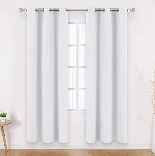 - HOMEIDEAS Greyish White Blackout Curtains - 2 Panels Room Darkening Curtains/Drapes, Thermal Insulated Solid Grommet Window Curtains for Bedroom & Living Room, 42 x 84 Inches