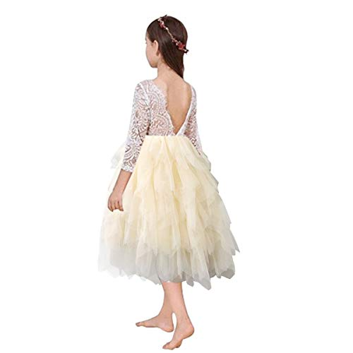 - Miss Bei Lace Back Flower Girl Dress,Kids Cute Backless Dress Toddler Party Tulle Tutu Dresses for Baby Girls Dress ! (Long Sleeve Apricot1, 9-10 Years/150cm)