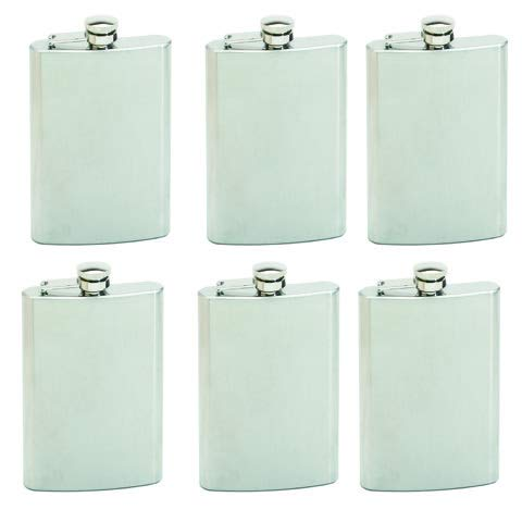 (Maxam 8oz Stainless Steel Flask, Lightweight Drinking Hip Flask with a Screw On, Leak Proof Lid, Polished Silver, 8 Ounce Capacity, 6 Pack)