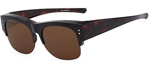 CAXMAN Oversized Wear Over Glasses Sunglasses Polarized Lens for Prescription Glasses Half Frame, Tortoise Frame Brown ()