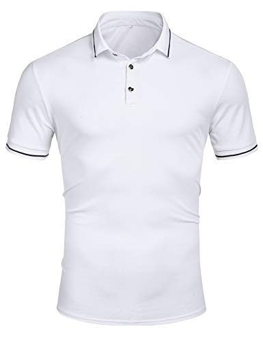 Men's Short Sleeve Polo Shirt Classic Dry Fit Sport Golf Polo Shirts Casual T Shirt White