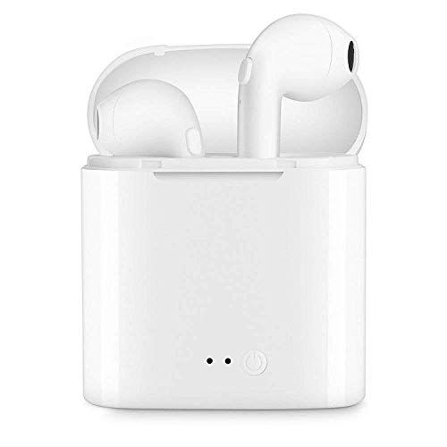 i7s TWS Universal Wireless Bluetooth V5.0 Earbuds, Noise Cancelling Earphones, Sweat-Proof, HD Microphone Truly Wireless Bluetooth Earphones with Charging Box (White)